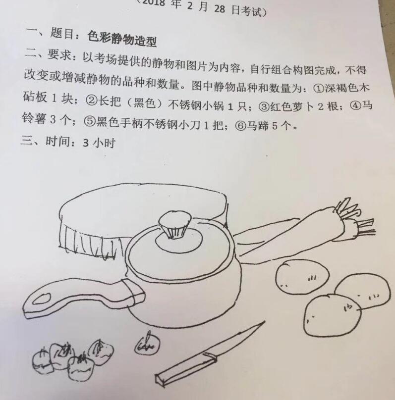 2018广州美术学院2月28日校考考题