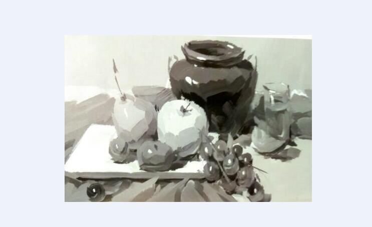 静物色彩单色稿的画法及步骤