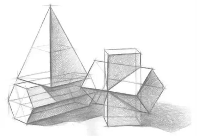 结构素描   几何体结构素描主要是透视和对称   一个是方形一个是圆形